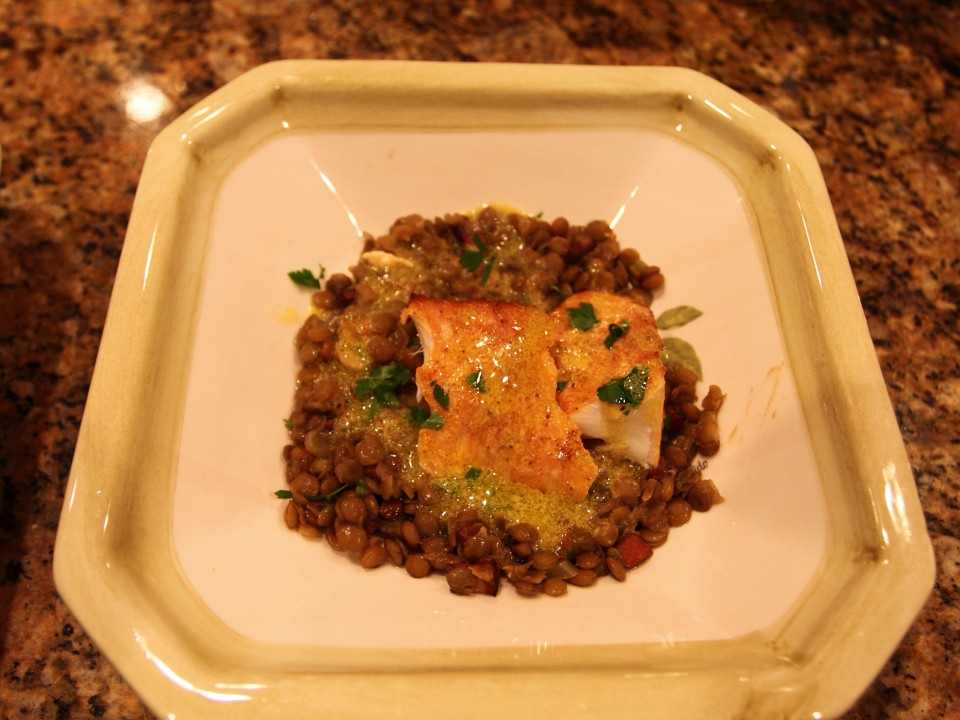 Smoked Halibut over Lentils